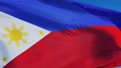 Philippines flag in slow motion seamlessly looped with alpha Stock Footage
