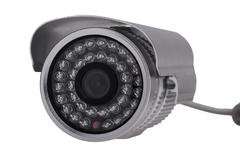 External security surveillance camera with night vision LED backlight - stock photo