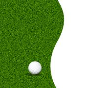 Golf ball on a green lawn Stock Illustration