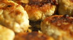 Fried Pork Meatballs or Cutlets in Frying Pan. 4k Stock Footage