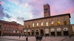 Bologna, Italy city center at sunset Stock Footage
