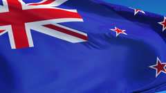 New Zealand flag in slow motion seamlessly looped with alpha Stock Footage