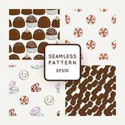 Set of Vector Candy, Bows and Muffins Seamless Patterns. Sweet Party Texture - stock illustration