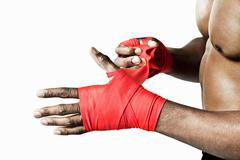 Boxer wrapping hand - stock photo