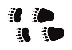 Stock Illustration of Animal foot prints and tracks isolated steps traces on white for wildlife