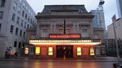 Royal alexandra theatre with lights on in Toronto, Canada Stock Footage