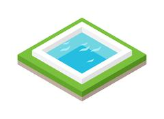 Water pool summer isometric fun concept 3d flat vector - stock illustration