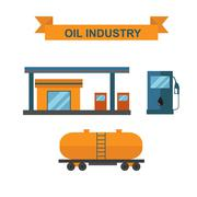 Oil and gasoline producing slots industry vector - stock illustration