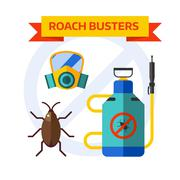 Pest control worker spraying pesticides home insects vector - stock illustration