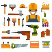 Building, home repair and decoration works tools vector Stock Illustration