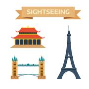 Sightseeing eiffel tower Paris, London bridge, China summer imperial palace Stock Illustration