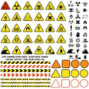 Hazard warning attention sign with exclamation mark symbol information and Stock Illustration