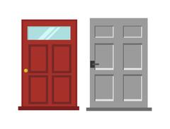 Wood two red and gray elegant entrance door isolated flat vector illustration - stock illustration