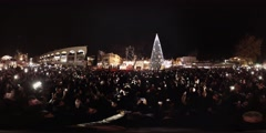 Lighting of the Christmas tree in Nazareth, Israel 2:1 aspect ratio Stock Footage