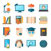 Stock Illustration of Education and school vector web icon set college training graduate symbols