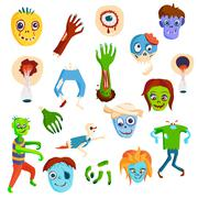 Stock Illustration of Cute green cartoon zombie character set part of body monsters vector