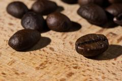 Coffe beans displayed. - stock photo