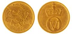 Bronze 2 ore 1967 coin isolated on white background, Norway - stock photo