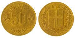 50 aurar 1969 coin isolated on white background, Iceland - stock photo