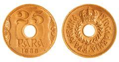 25 para 1938 coin isolated on white background, Yugoslavia Stock Photos