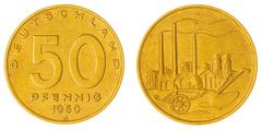 50 pfennig 1950 coin isolated on white background, East Germany Stock Photos