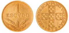 1 escudo 1979 coin isolated on white background, Portugal - stock photo