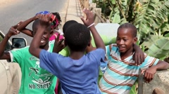 Children happy posing for the camera in  Cape Verde, Africa Stock Footage