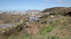 Small gray city on top of hill in Cape verde, Africa Stock Footage