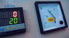 Equipment switching panel and gauge of 380 volts Stock Footage