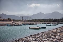 Amazinc coastal scenery in Musandam peninsula, Oman - stock photo