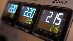 The main control panel with buttons and digital displays Stock Footage