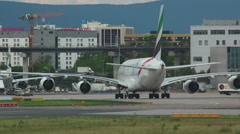 Emirates Airbus 380 taxiing Stock Footage