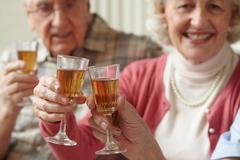 Senior adults having a toast Stock Photos