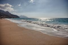 Pristine beach near Bukha, in Musandam peninsula, Oman - stock photo