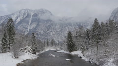 Traun river flowing along fir trees on a winter day in Hallstatt Stock Footage
