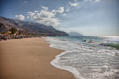 Pristine beach near Bukha, in Musandam peninsula, Oman - stock photo