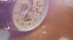 Mechanical watch up close. Stopwatch on hand is on the camera's focus Stock Footage