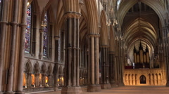 Lincoln England Cathedral pan inside church chapel 4K Stock Footage