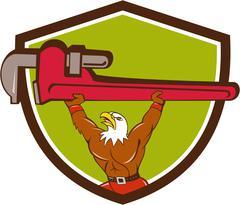 Bald Eagle Plumber Monkey Wrench Shield Cartoon. - stock illustration