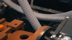 Transparent  hoses for suction plastic granules in the extrusion equipment - stock footage