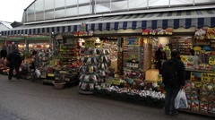flower market in amsterdam netherlands - stock footage