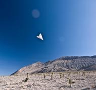 Paper aeroplane in Death Valley National Park, California, USA Stock Photos