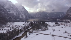 Aerial view of Hallstatt and Hallstatter See during winter Stock Footage