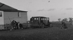 Old 1940's Farmhouse in Black and White Stock Footage