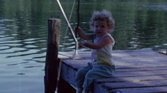 Young Girl Fishing Vintage Film Stock Footage