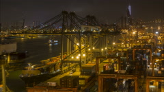 Time lapse cargo vessel, container terminal, port, harbor, Hong Kong, Asia - stock footage