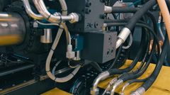 The process of extrusion equipment operation - the movement of different parts Stock Footage