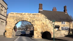 Lincoln England medieval Roman arch main street 4K Stock Footage