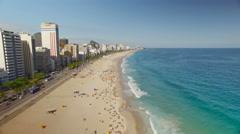 Overhead aerial shot of Ipanema Beach, Rio de Janeiro - stock footage