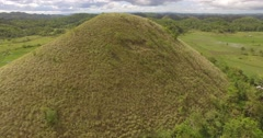 Aerial shot, moving  chocolate hills in Bohol, Philippines Stock Footage